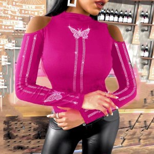 Butterfly Studded Cold Cut Long sleeve Top