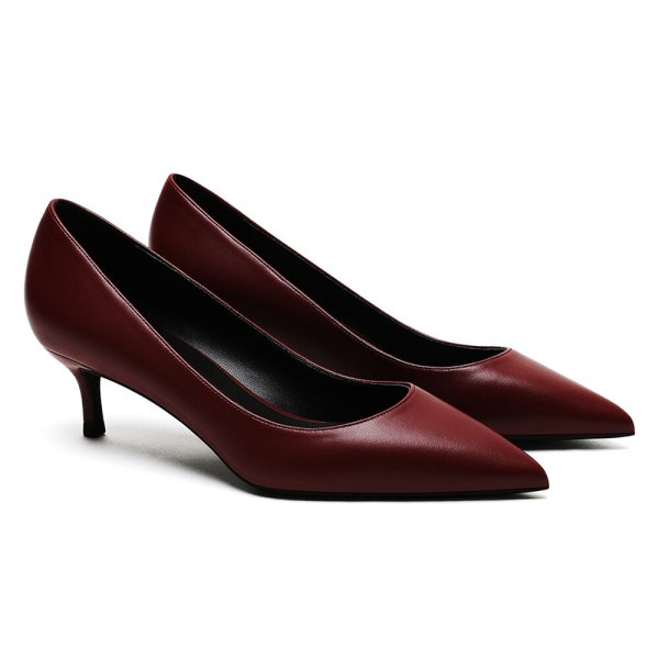 Top Quality Matte Leather Pointed Toe 5 cm Kitten Heels