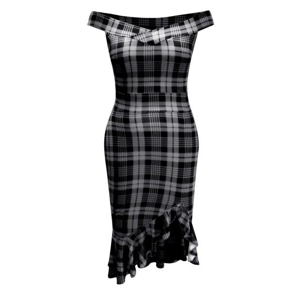 Sexy Bandage Dress Women 2021 v Neck Ruffles Elegant Dress Bodycon Backless Club Party Dress Plaid Print Hem Slit Slim Backless