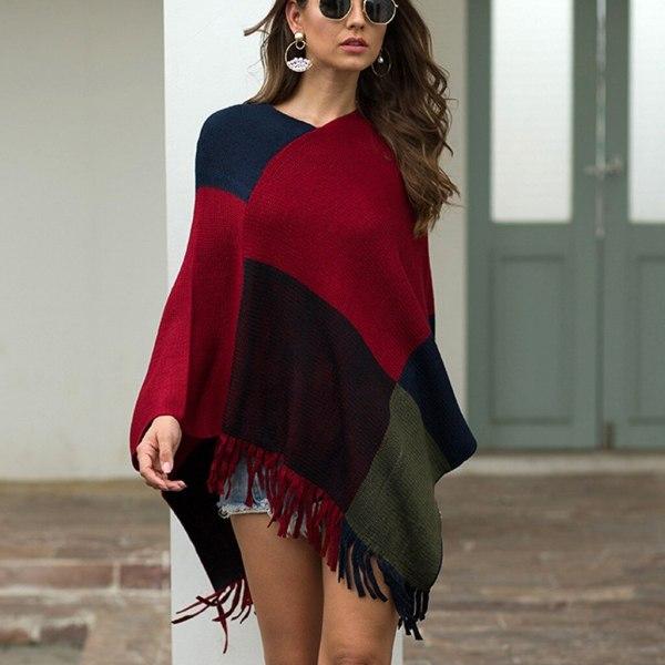 JAYCOSIN Women Sweaters 2019 Autumn Winter V-Neck Irregular Patchwork Cloak Loose Shawl Cardigan Sweater Wrap Sweater Coat jy22