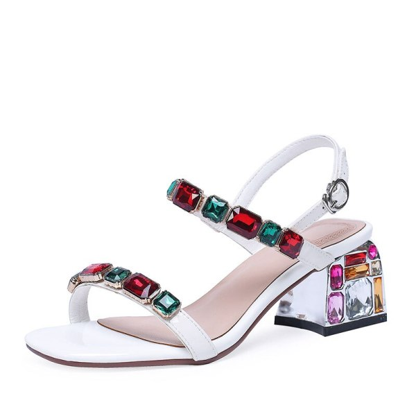 Open Toe Fashion Crystal Heels Sandals