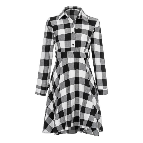 Plaid Long Sleeve Shirt Dress