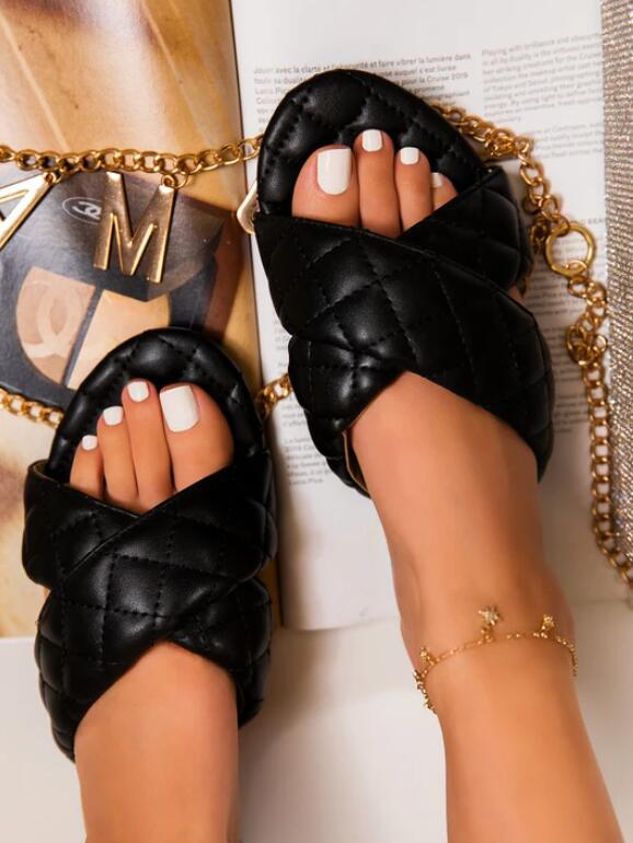 Summer Flat Crossed Open Toe Leather Slippers