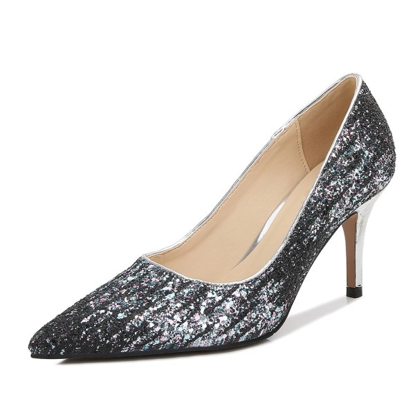 Sexy Sequin 8cm Heels Pointed Toe Shoes