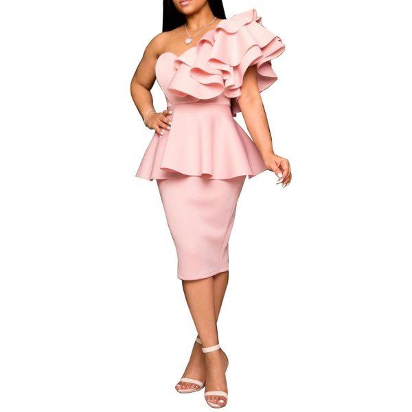 Dinner Dresses 2020 Falbala Chic Slim Elegant Peplum Ruffles Fashion Solid Sexy One Shoulder Women Evening Formal Party Dress