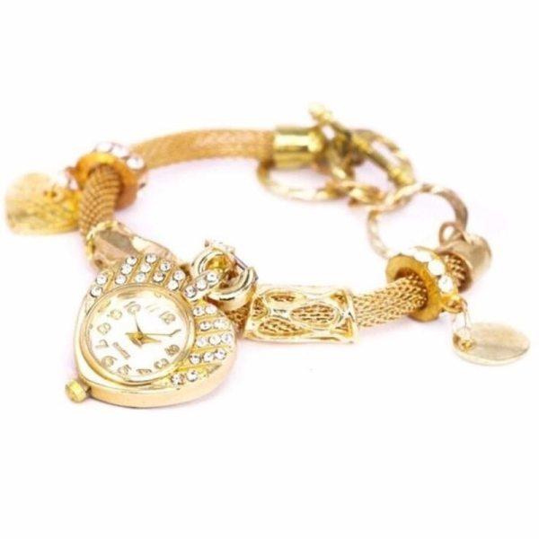 Gold Silver Fashion Women Bracelet Watches Ladies Girls Women's Wristwatch Love Heart Round Quartz Watch