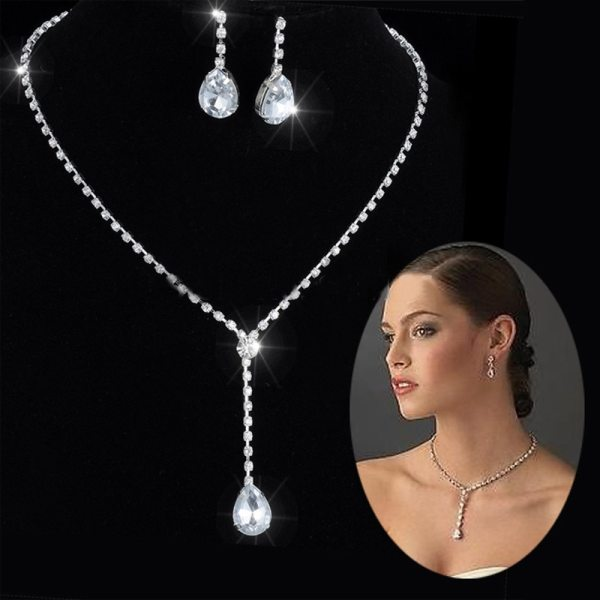 Celebrity Inspired Crystal Tennis Long Necklace Set Earrings Factory Price Wedding Bridal Bridesmaid Jewelry Sets