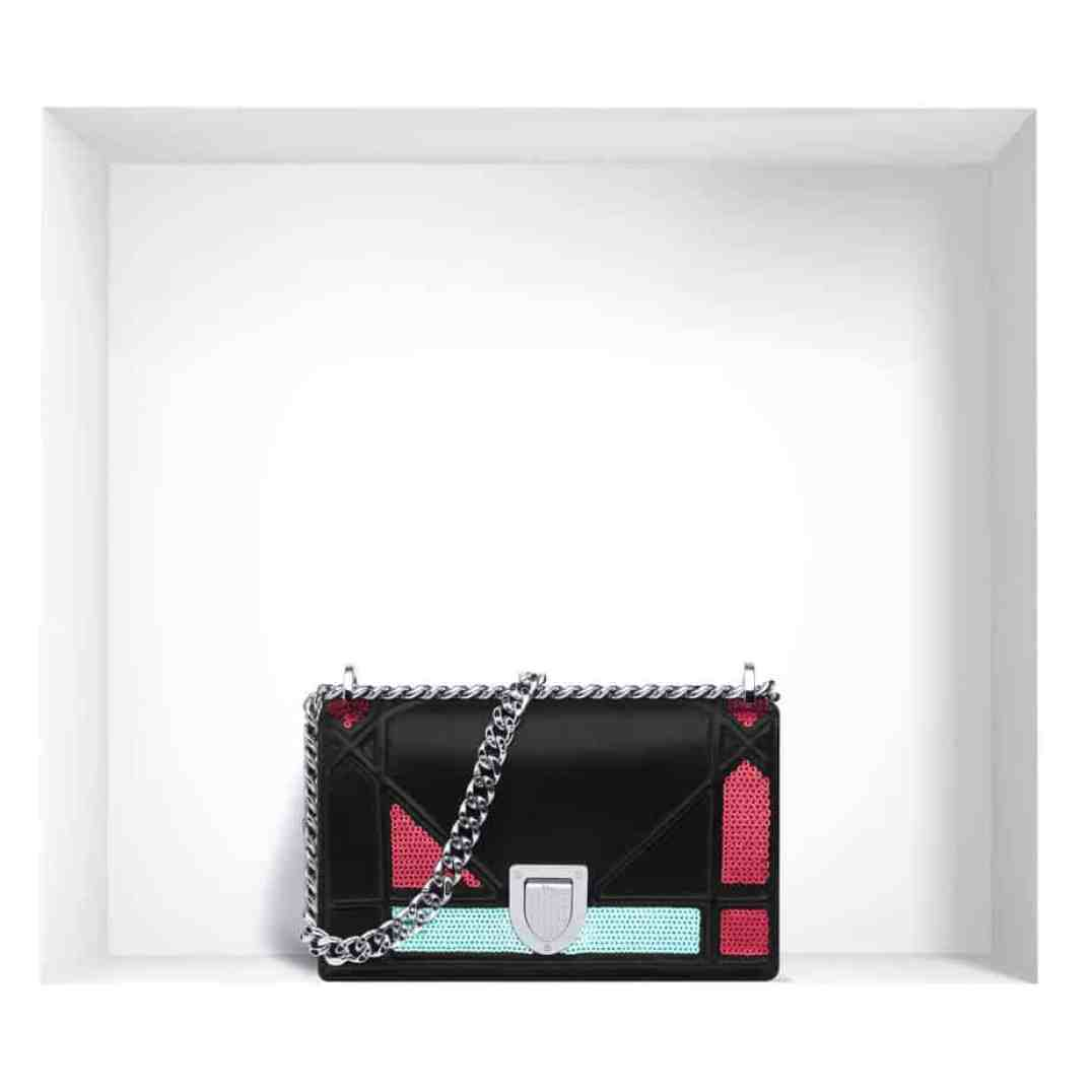 "Mini ""Diorama"" flap bag in lambskin and sequins"