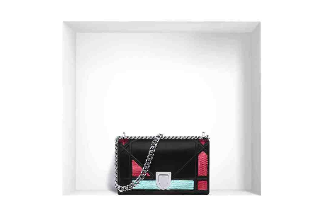 "Mini ""Diorama"" flap bag in lambskin and sequins"