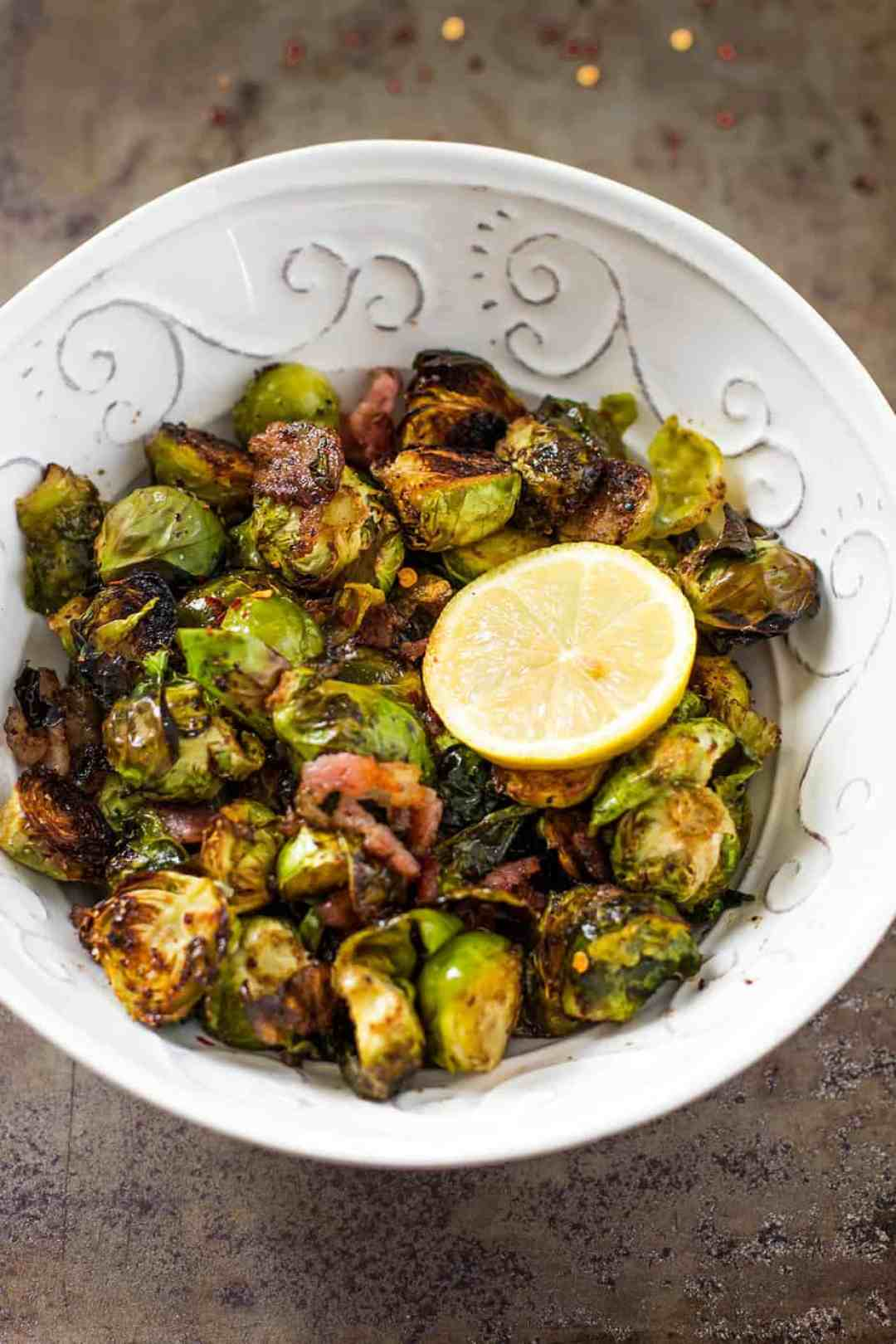 Oven Bacon Brussels Sprouts with Balsamic Vinegar