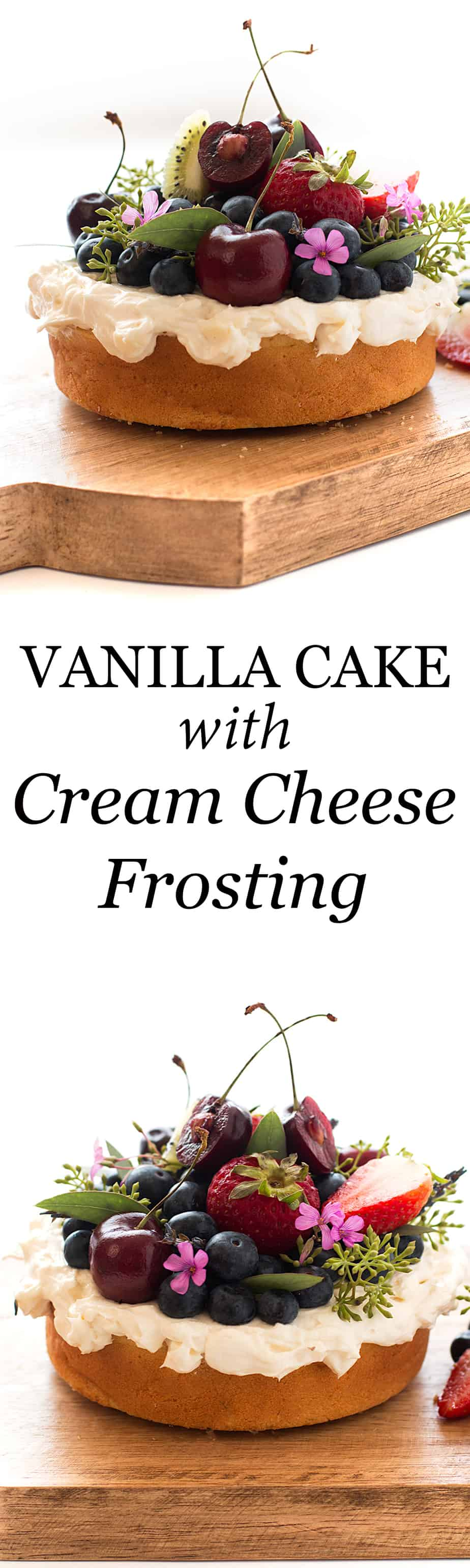 vanilla-cake-cream-cheese-frosting-recipe. Cream cheese frosting is a favorite of mine, especially when incorporating it into a vanilla cake from scratch. I think it's the highlight of the attached cake recipe , which also has fresh berries and a nice red, white and blue theme.