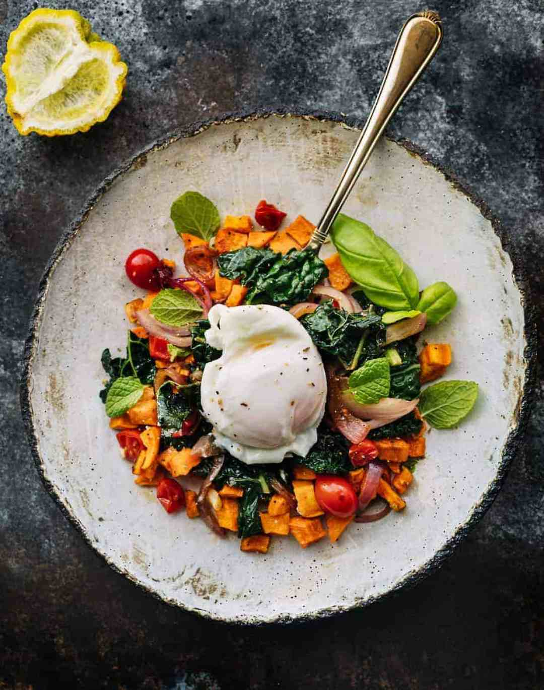 poached eggs baked sweet potato kale