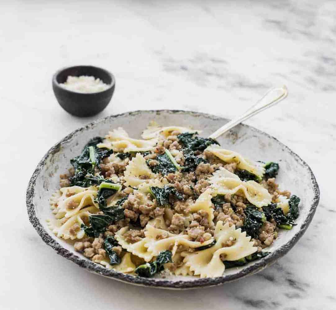 ground turkey recipes spicy italian sausage pasta with kale and lemon