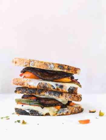 Marinated Portobello Mushroom Sandwich with Grilled Bell Pepper, gruyere cheese and mozzarella cheese