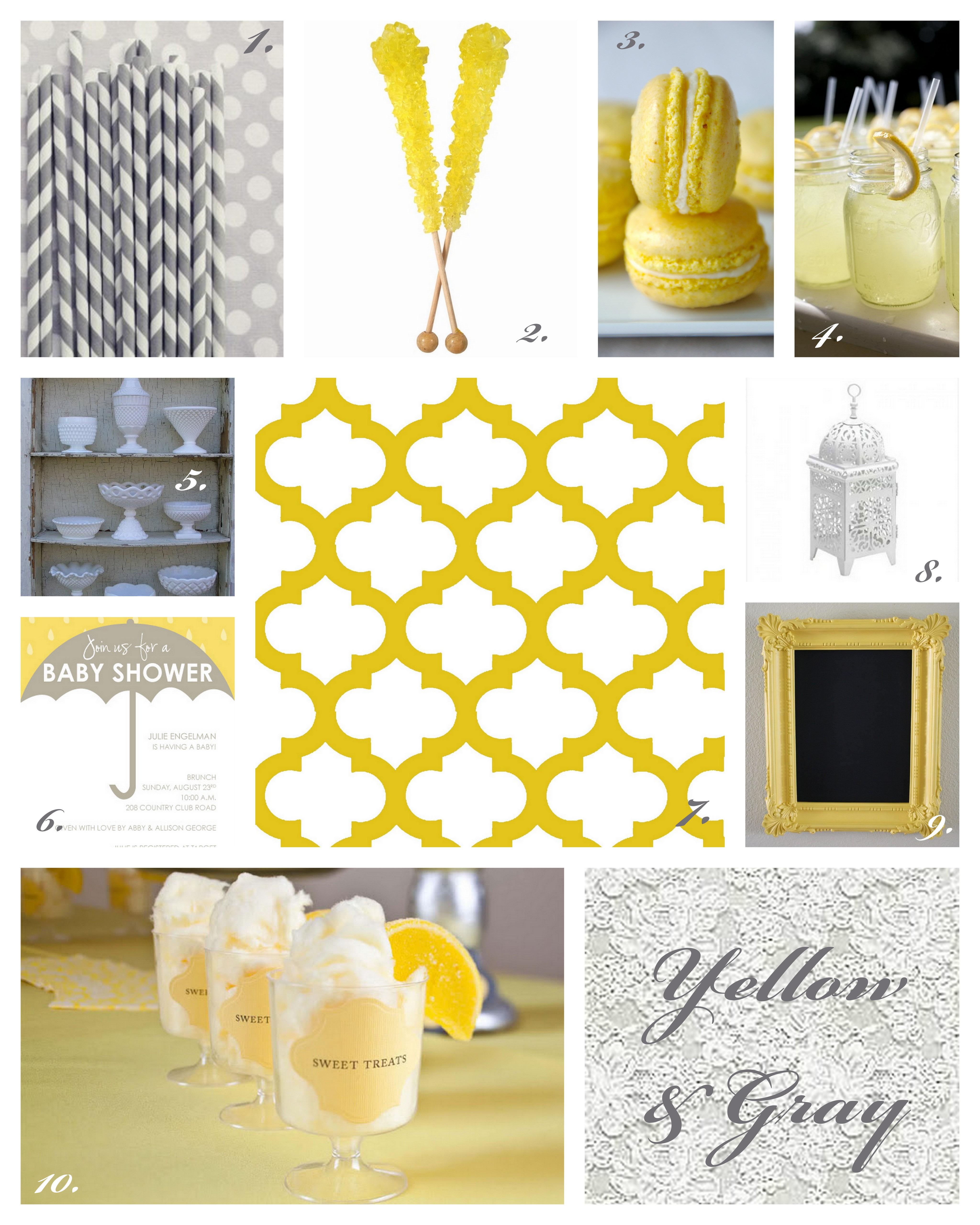 Sunshine Yellow Gray Baby Shower Inspiration Posh Little Designs