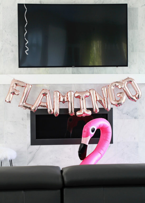 rose gold letter balloons, flamingo party