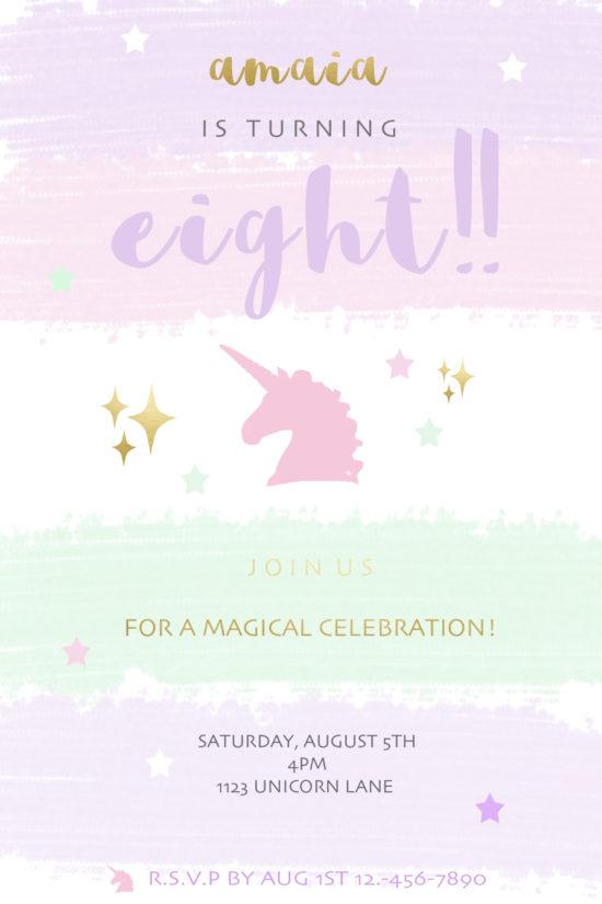 Kids invites unicorn