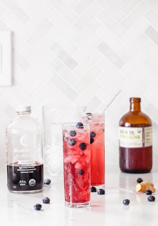Blueberry Ginger Kombucha Cocktails | Posh Little Designs