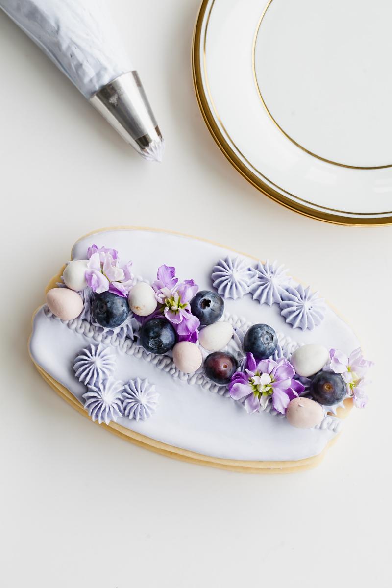 Easy Macaron Sugar Cookie Cake-Cream Tart-Blueberry