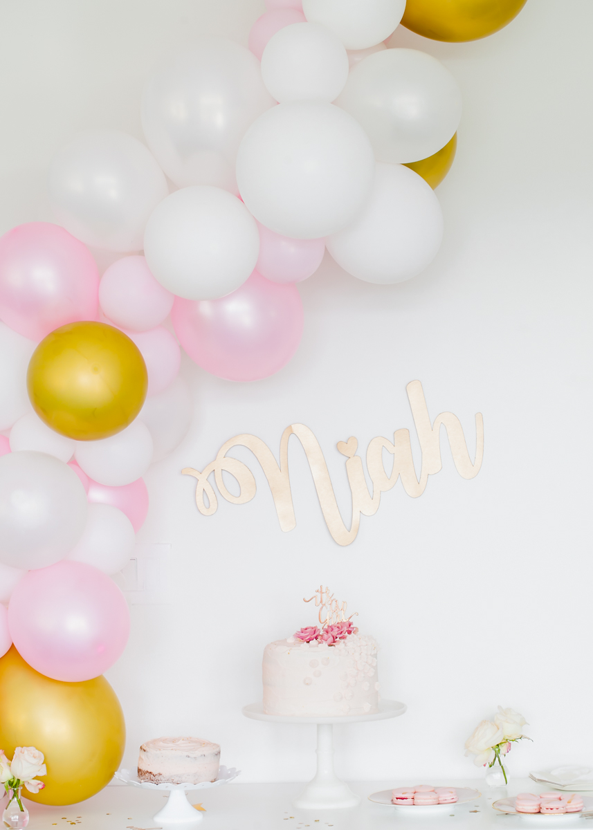 Pink Gold Baby Shower - Balloon Garland