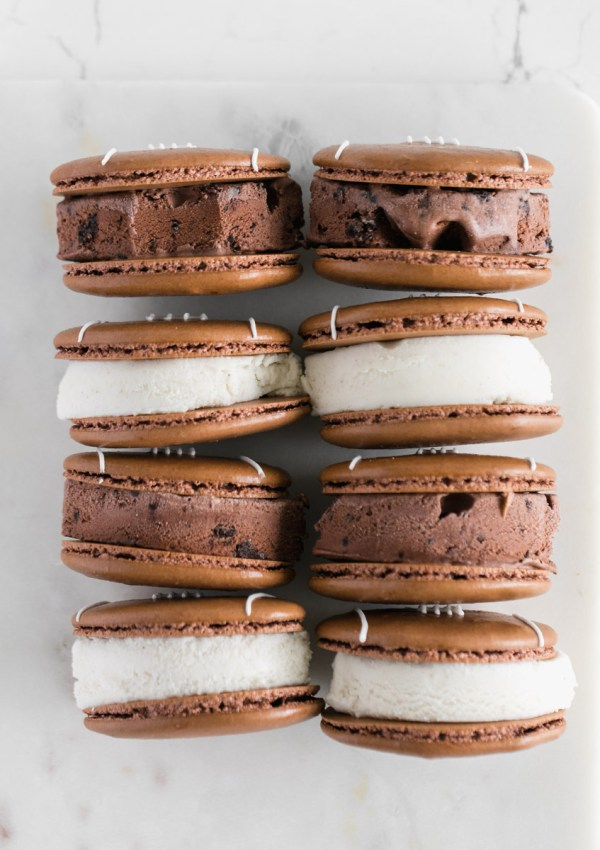 Football Macaron Ice Cream Sandwiches