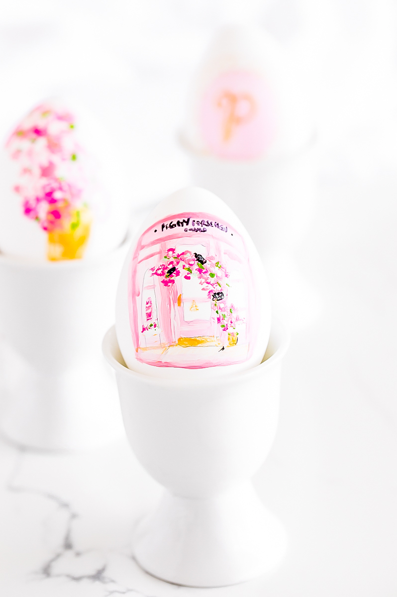 DIY Peggy Porschen and floral print inspired Easter eggs, painted in pink