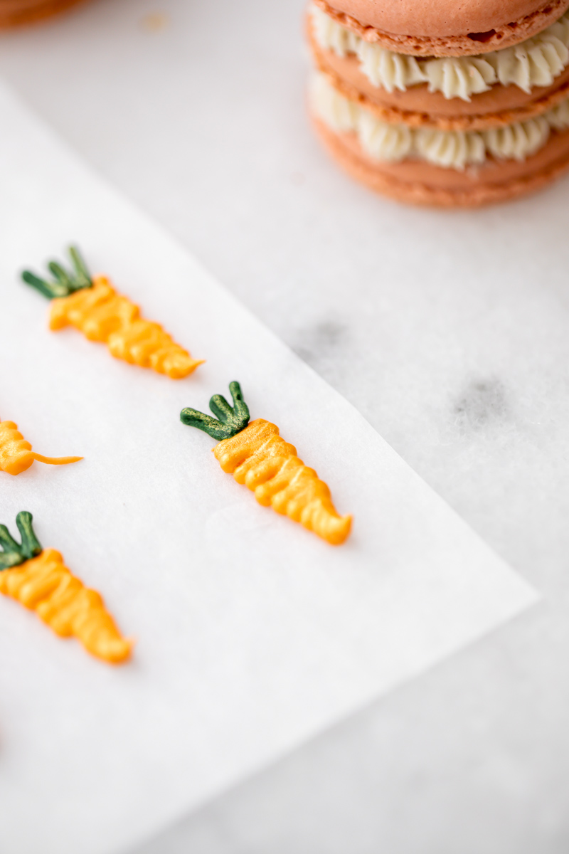 carrot royal icing transfers for French macarons