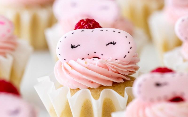 pink spa kids birthday party - raspberry cupcakes