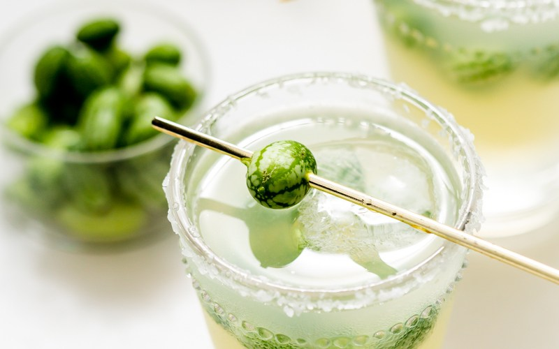 cucamelon margaritas recipe - fresh lime, Mexican gherkins, simple syrup and tequila.