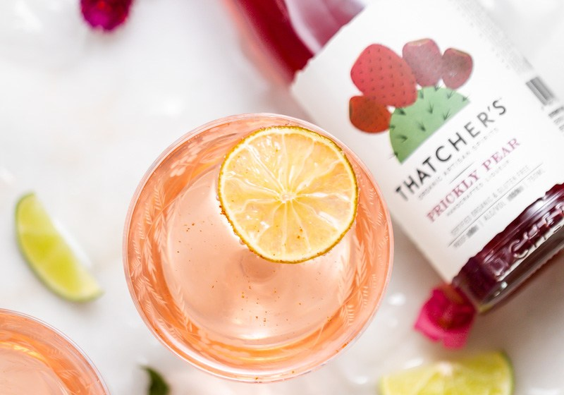 prickly pear Royale champagne cocktail recipe, made with Thatcher's Organic spirits