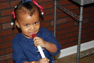 Zoë enjoyed the jello shots she helped mommy make : )