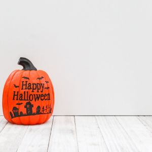 Halloween, Pumpkin, White Background, Vertical Styled Stock Image
