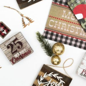 Holidays, Christmas, Gift Bags, Joy, Peace, Flat Lay, Vertical Styled Stock Image