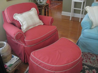 Paprika canvas slipcovered chair