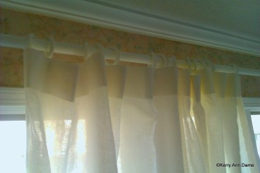 Handkerchief linen, plain top on cottage style wood rod