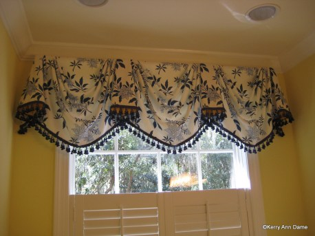 Blue and White Floral Valance with Tassels