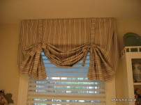 London Valance of Ticking Stripe with Ties
