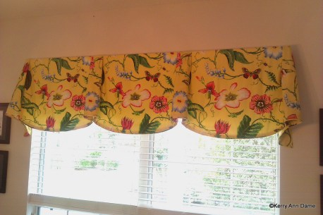 Bright Yellow Tropical Floral Valance with Bells