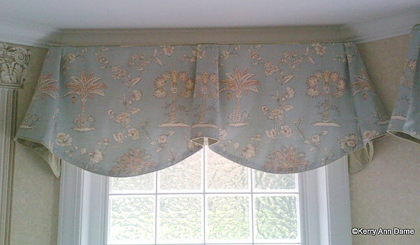Amazing  Imperial Valance with Palmetto Trees and Ticking Trim