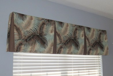 Mana Palm Print Fabric Tailored Valance