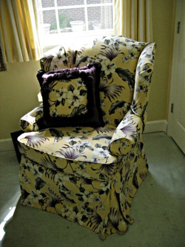 Designer fabric chair and pillows from Posh Surfside