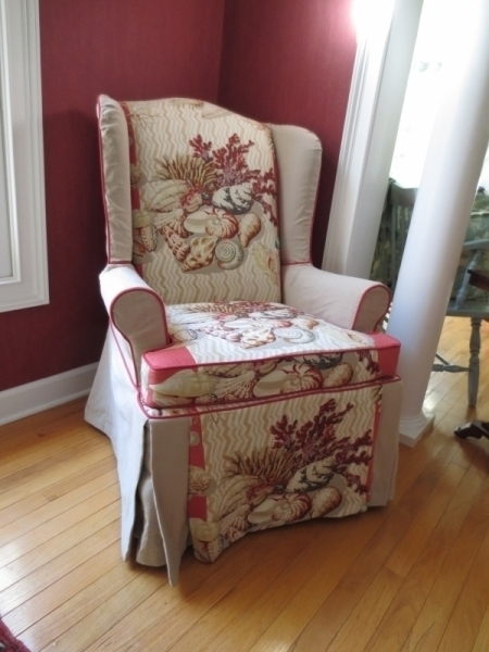 Wing Chair with shell fabric, 2 tone