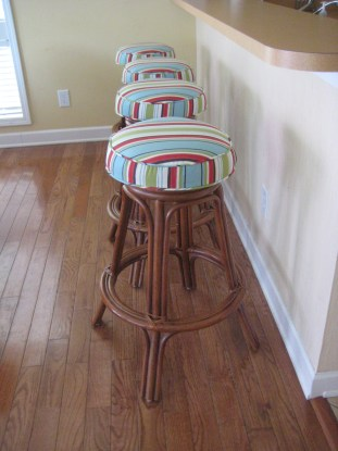Outdoor Stripe Acrylic brightens barstools in a vacation rental