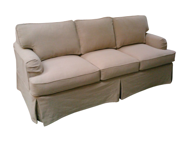 Sofa slipcovered in Ireland sable fabric