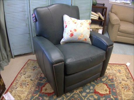 Green leather club chair recilner, made in the USA.