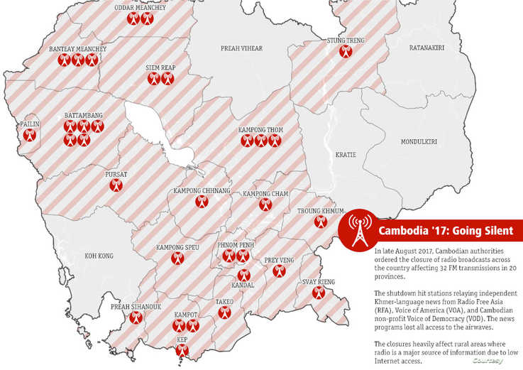 A map shows the 32 FM frequencies affected by the closure of relay stations that broadcast VOA, RFA, and VOD. (Courtesy: LICADHO)