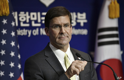 U.S. Defense Secretary Mark Esper attends a joint press conference with South Korean Defense Minister Jeong Kyeong-doo, after…