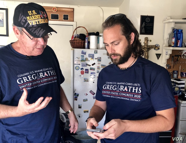 Republican Challenger Greg Raths meets with his campaign manager Blake Allen to plan door-to-door canvassing in California's 45th District.