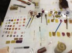 Laura Sims' meticulous records of our bound pigment work!