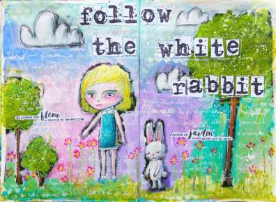"Art Journaling ""Alice & the white rabbit"""